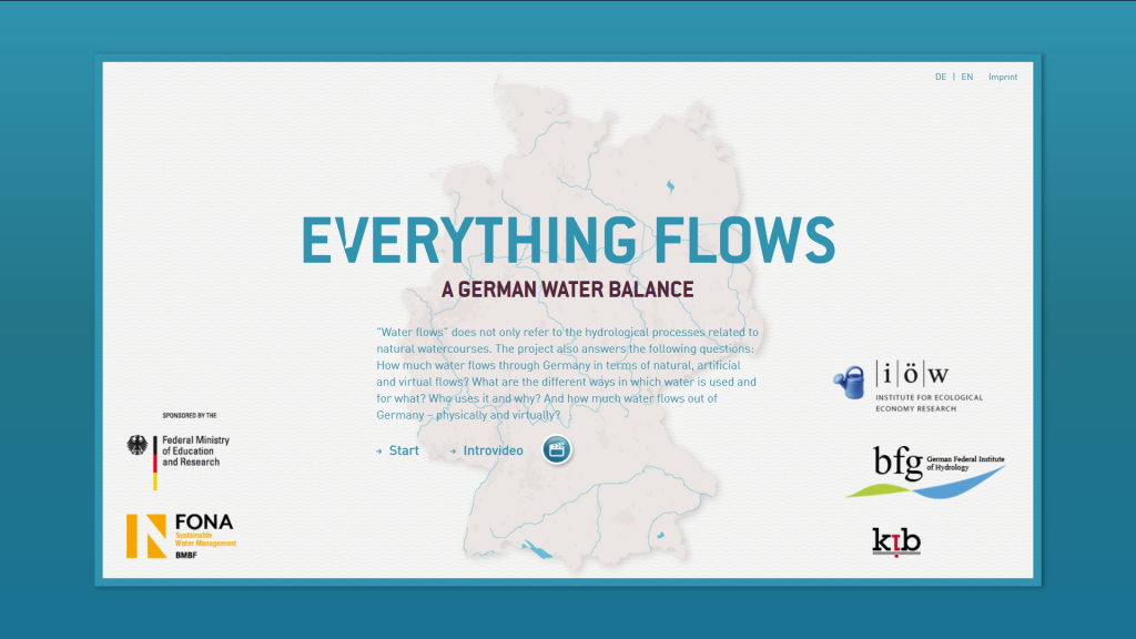 "The image shows a screenshot of the website of the project ""Everything Flows""."