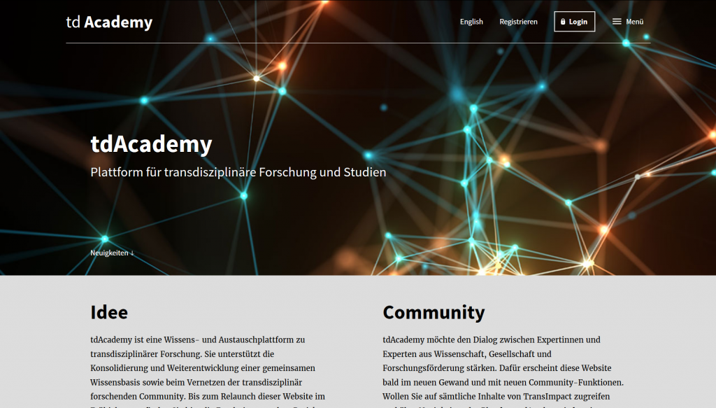 "The image shows a acreenshot of the website of the project ""td Academy""."